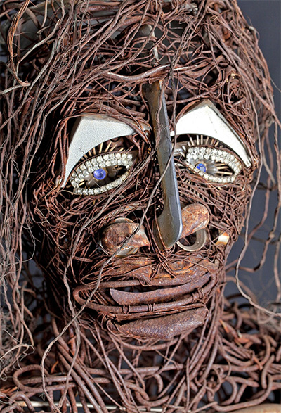 Jesse Lott,   Big Girl (A Tribute to Eula Love)  , detail, 1980   Copper, Aluminum, Steel, wire with found objects   70 x 60 x 24 inches.