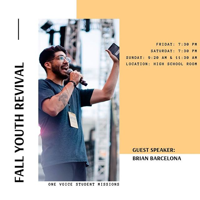 HEY UPPERROOM! Our fall revival service with Brian Barcelona is coming up real soon! Join us this Friday & Saturday in the Upperroom! Come out with an open heart and feel free to invite your friends :)