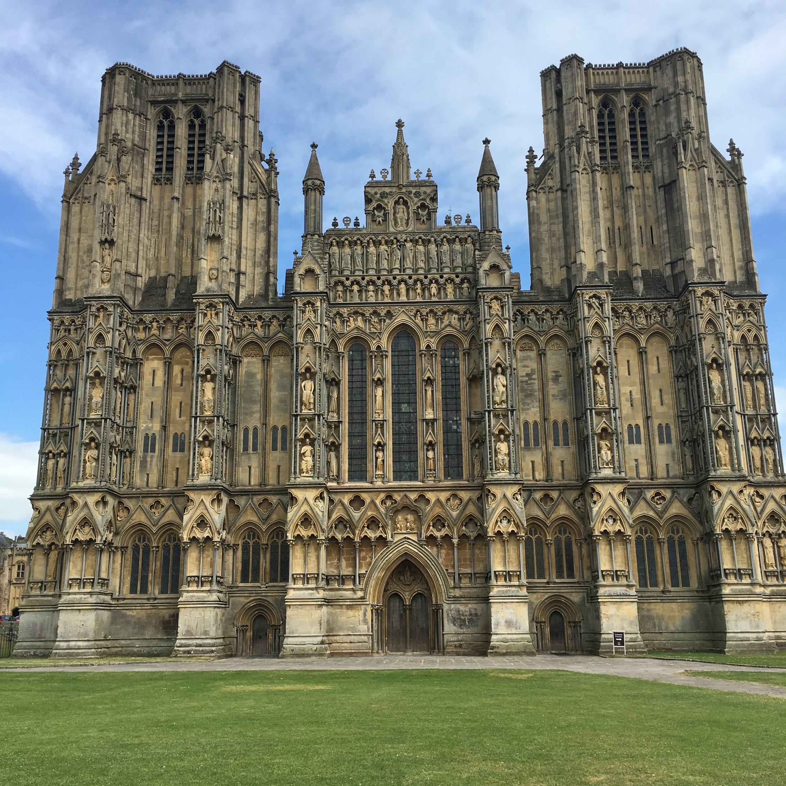 The massive cathedral in the town of Wells.