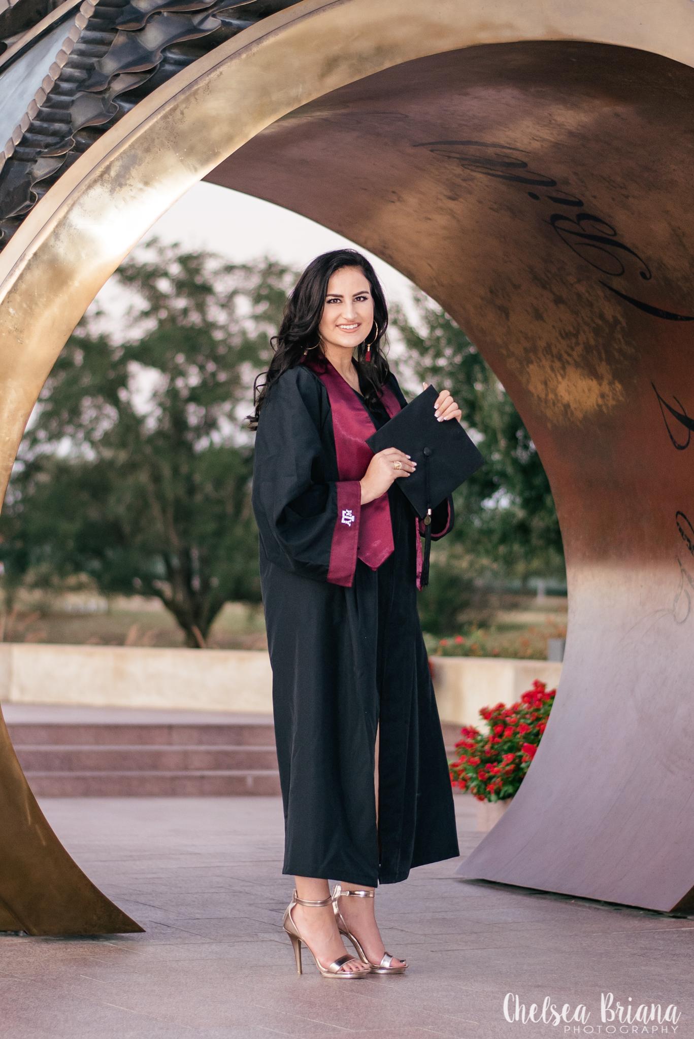 TAMU graduation photos cap and gown