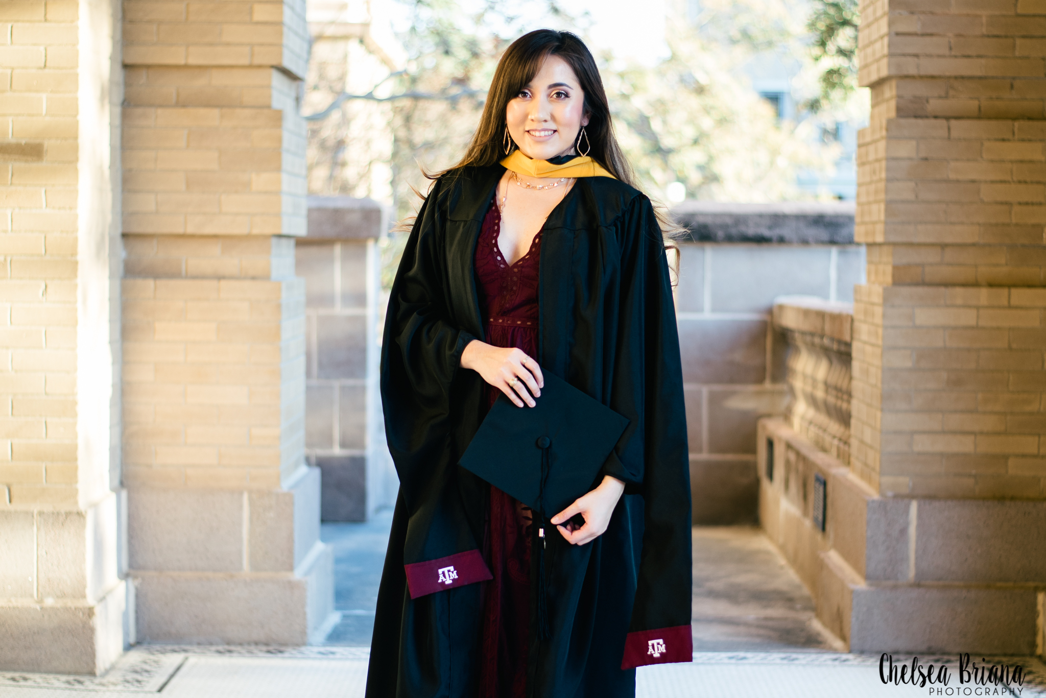 Texas A&M cap and gown