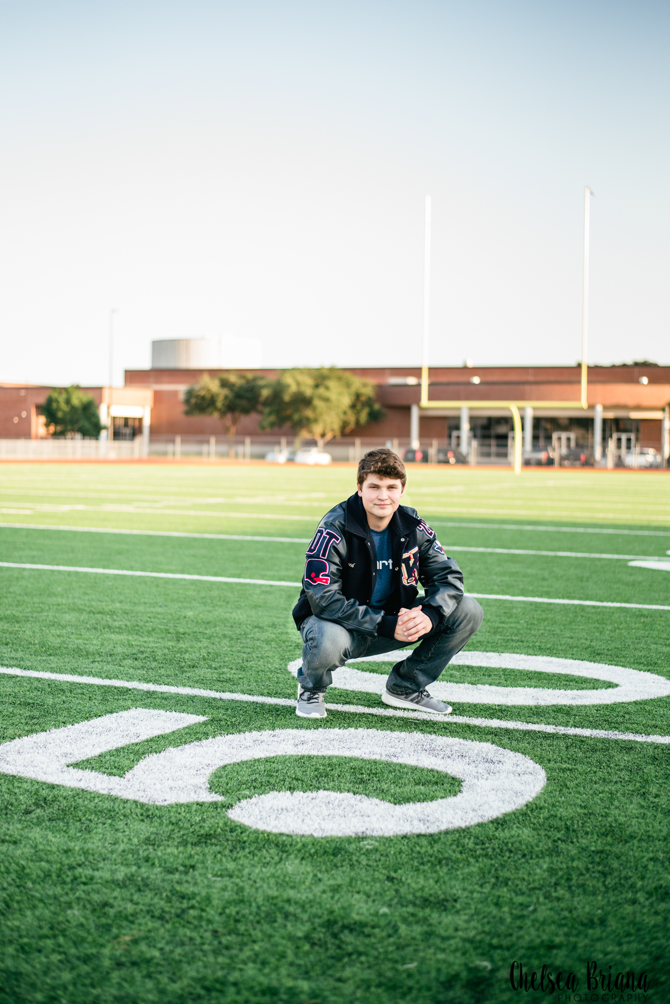 Football field senior pictures