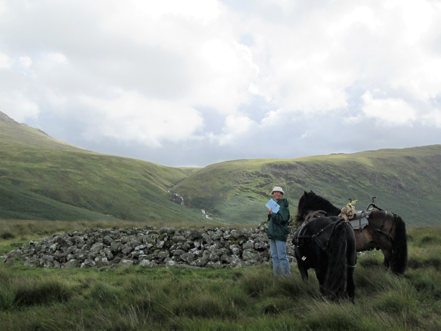 The author and two Fell Ponies at Maiden Castle on Burnmoor in the Lake District in 2015.