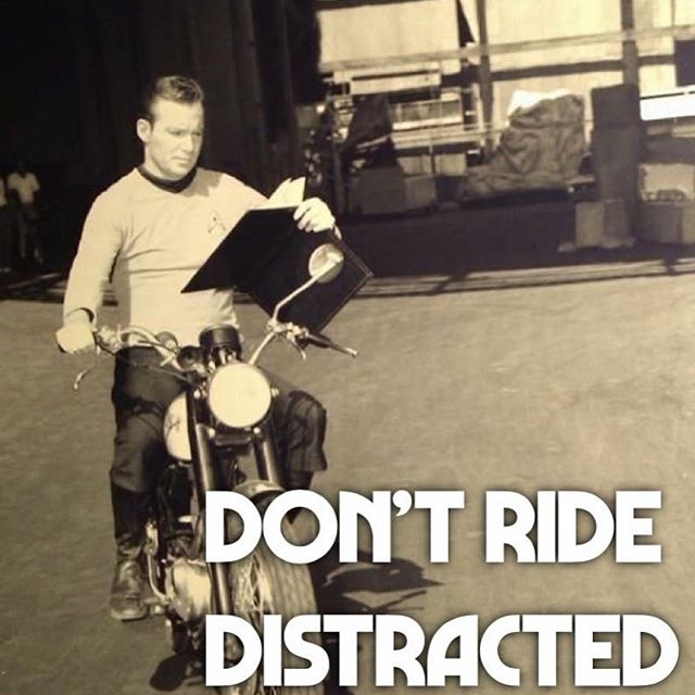 Books are dangerous. Keep your eyes on the road. #ridewithus #biker