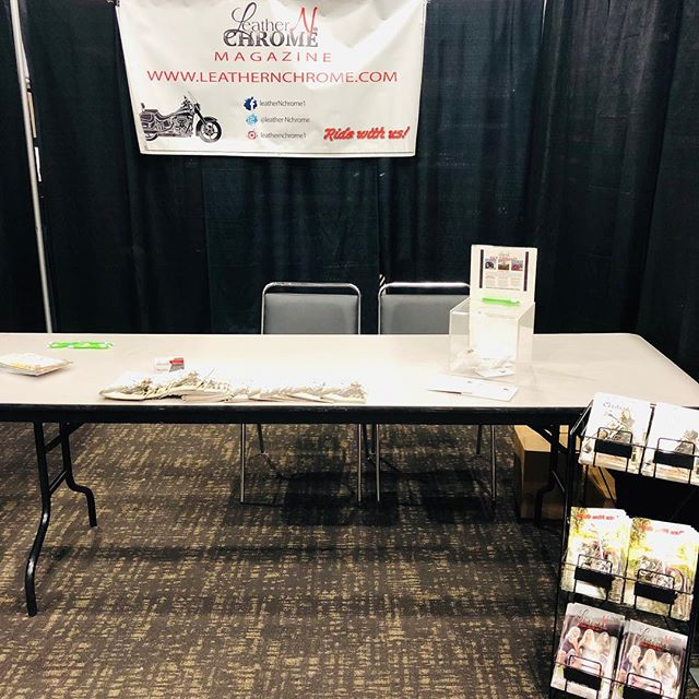 """We're set up at the Mid America Motorcycle Expo! Stop by our booth to sign up to be featured in the magazine! We have spots for """"My First Bike"""" """"Rumblings from the Road"""" and """"Featured Bike""""  We also have yearly subscriptions for $15! Get Leather N Chrome shipped right to your door."""