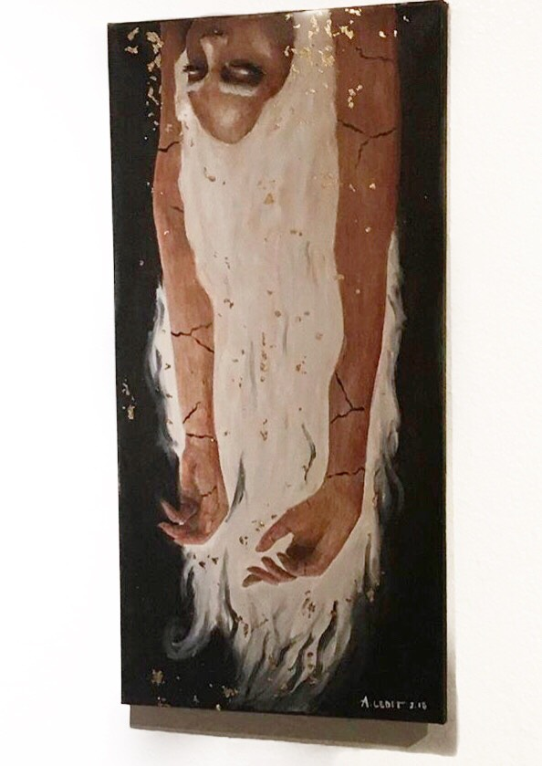 """12"""" x 24"""" oil & gold leaf on canvas."""