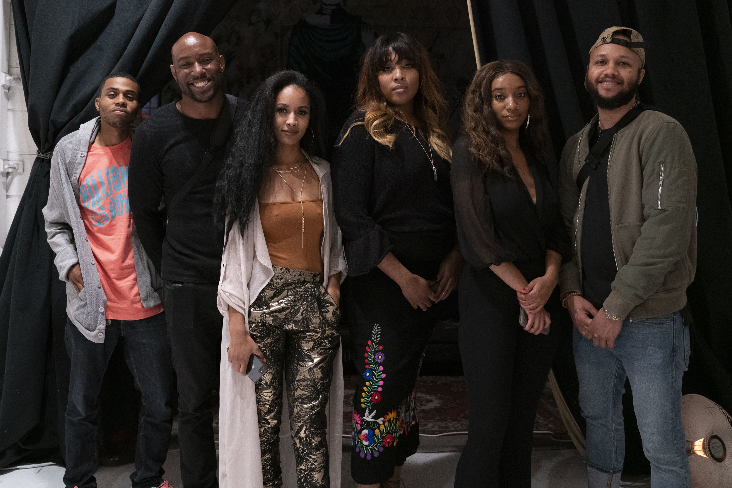 From left to right: Dillion (photographer), Curtis (photographer), Amber (me), Saidah (event creator), Shion (poet, partner), Charles (videographer)