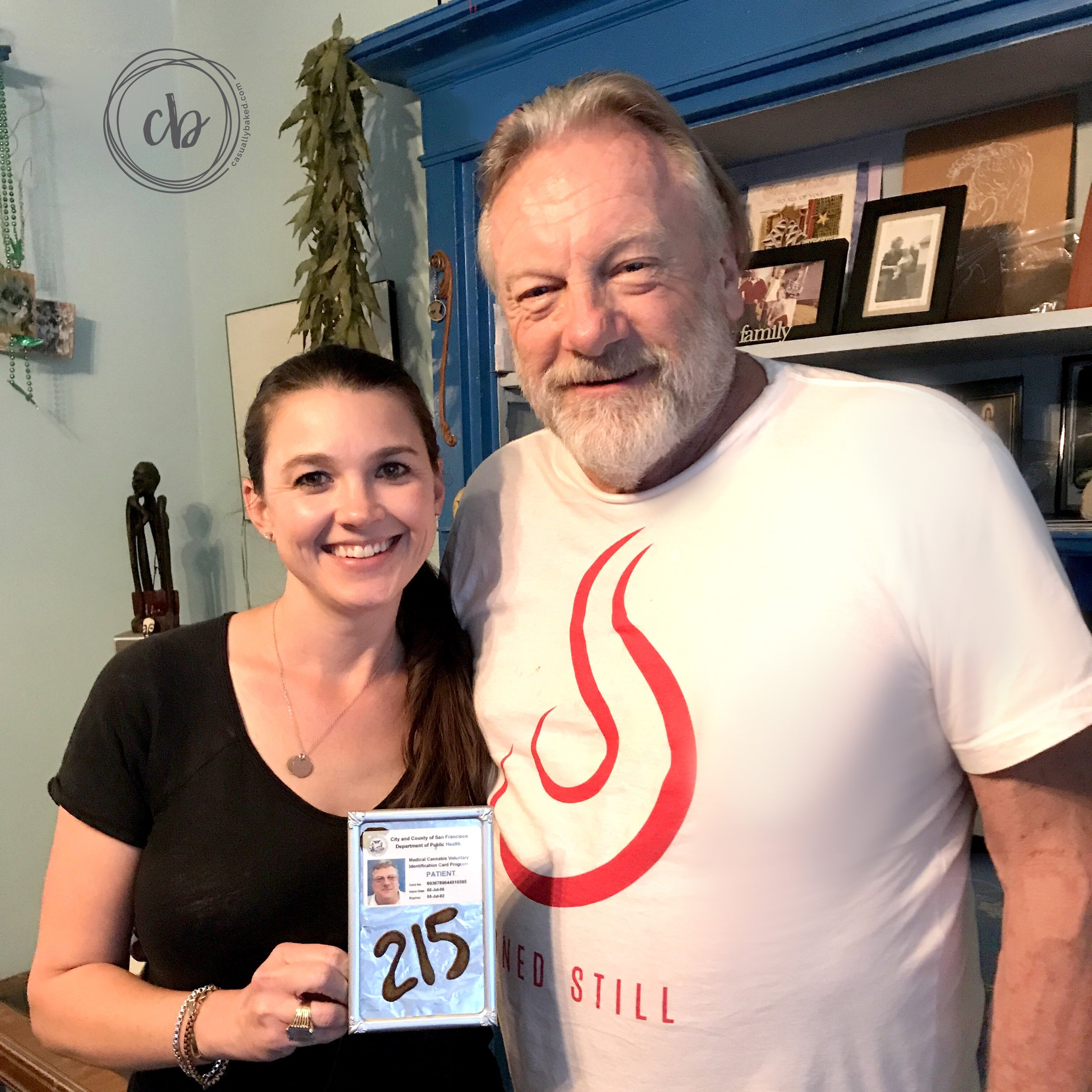 Wayne Justmann is the very first card-carrying medical cannabis patient in the State of California. That 215 is written in hash. :)
