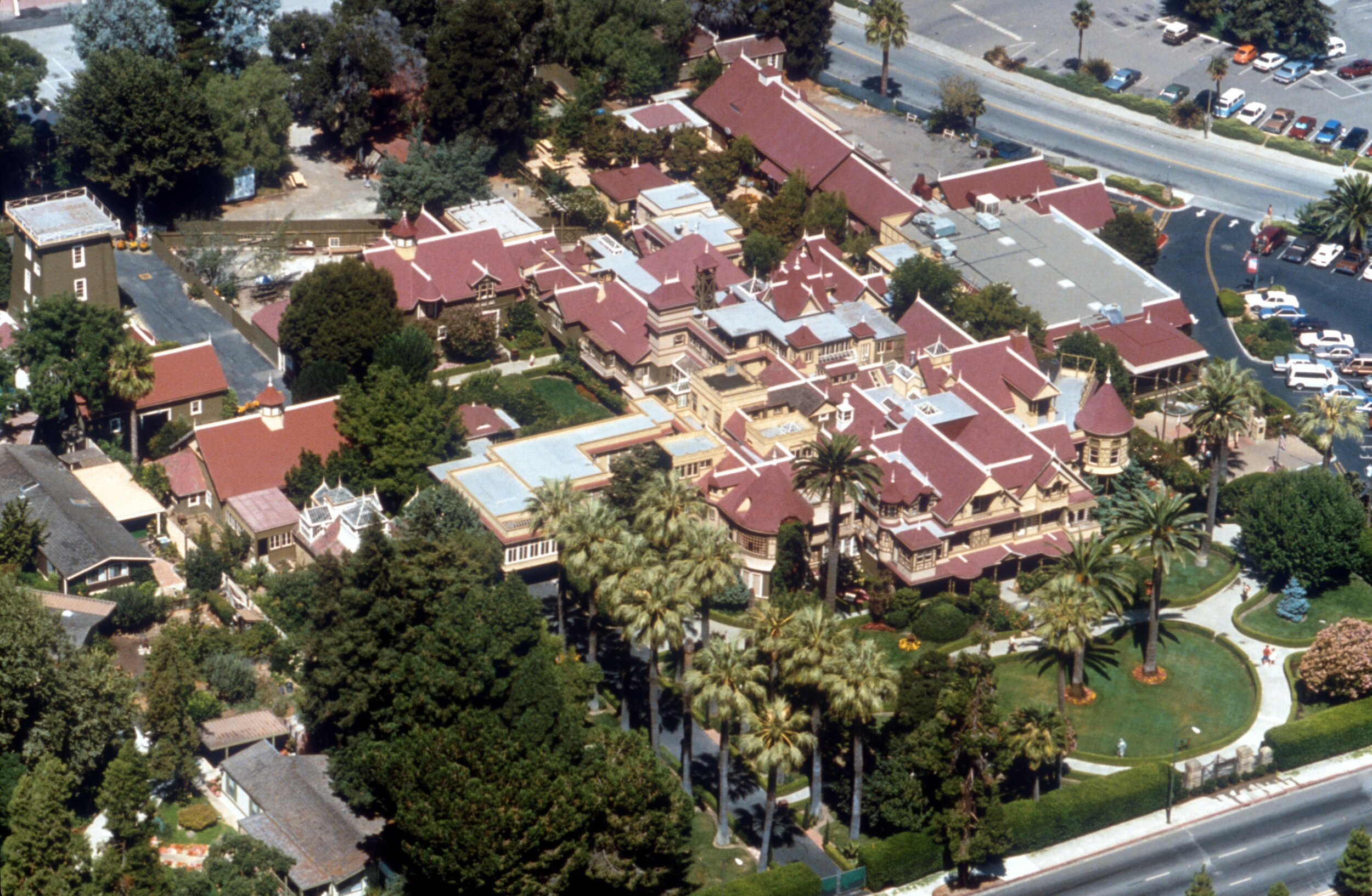 Aerial view of the Winchester Mystery House in San Jose, CA