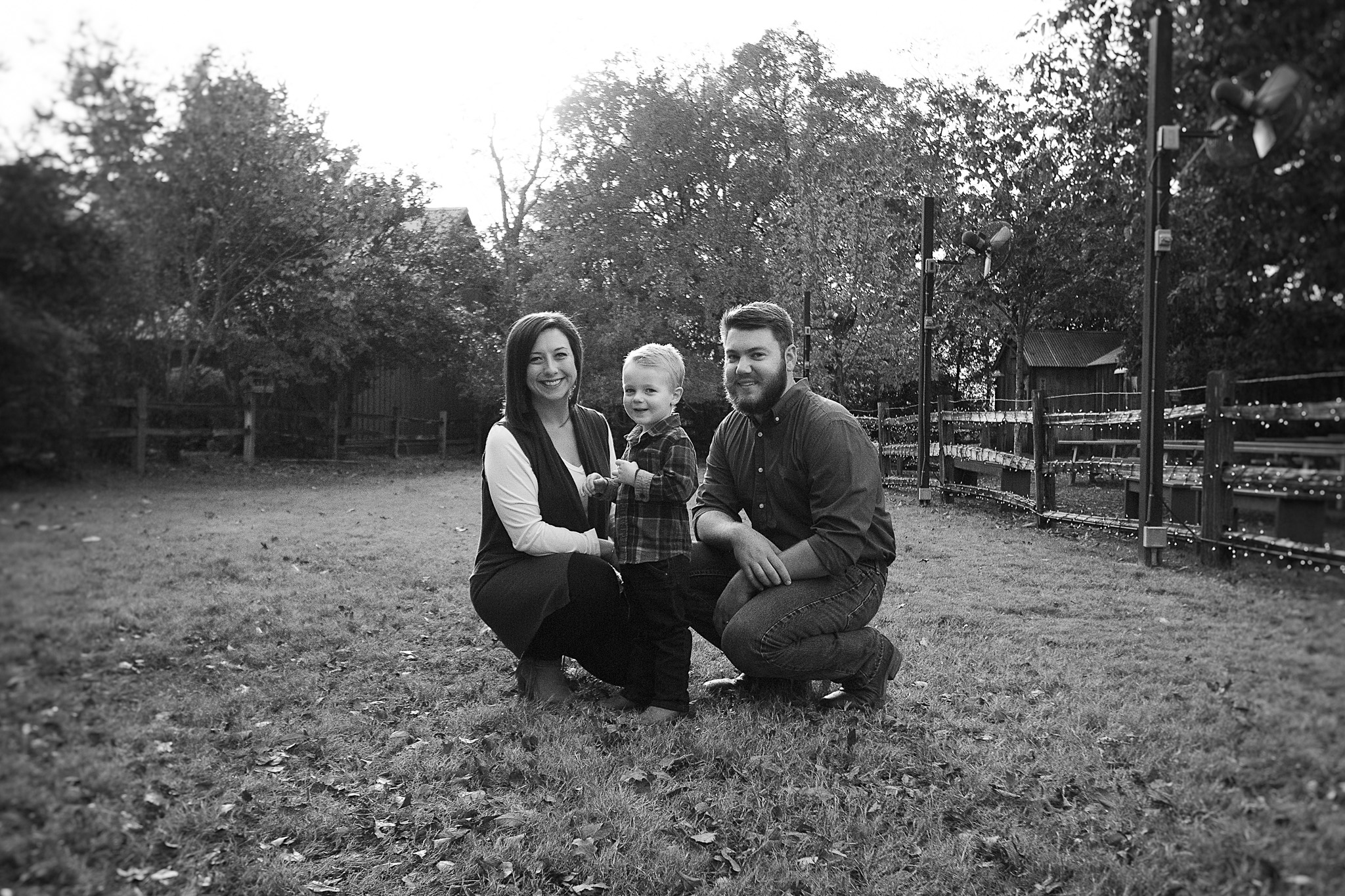 black and white portrait of family in gruene texas