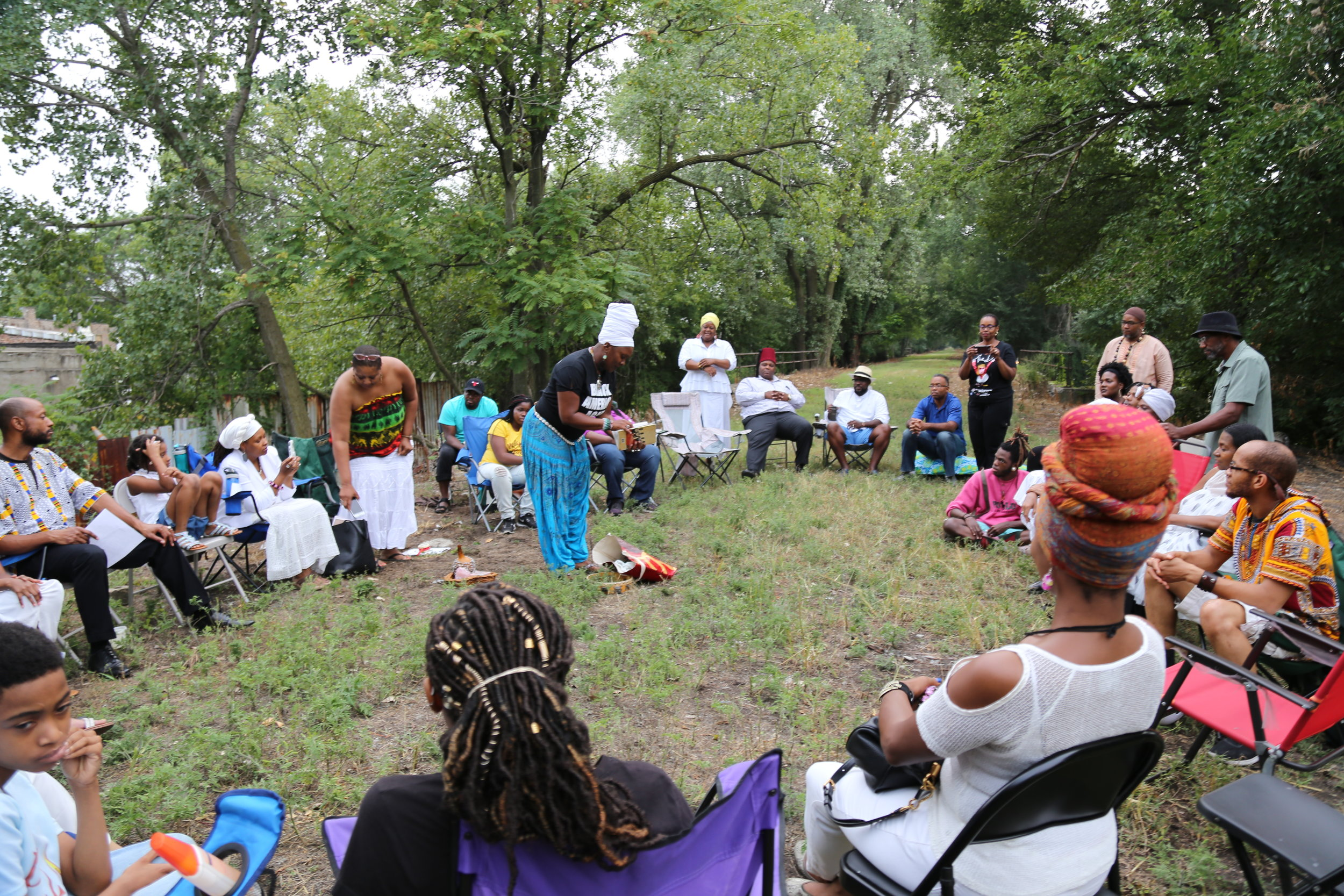 The healing event on the Englewood Line Trail.