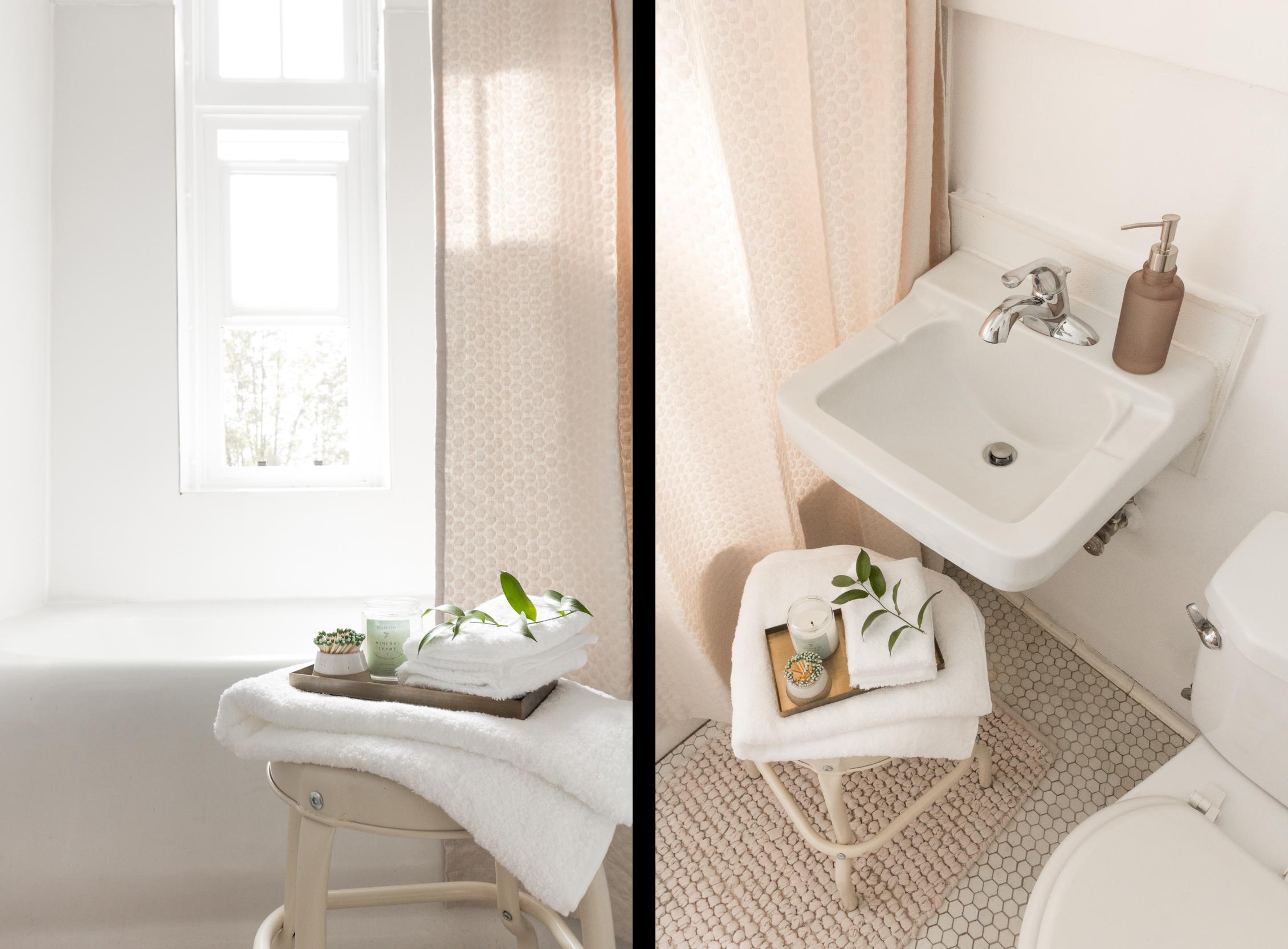 SHOP:  Cubed Bath Tray  |  Illume® Mineral Thyme Julia Jar Candle