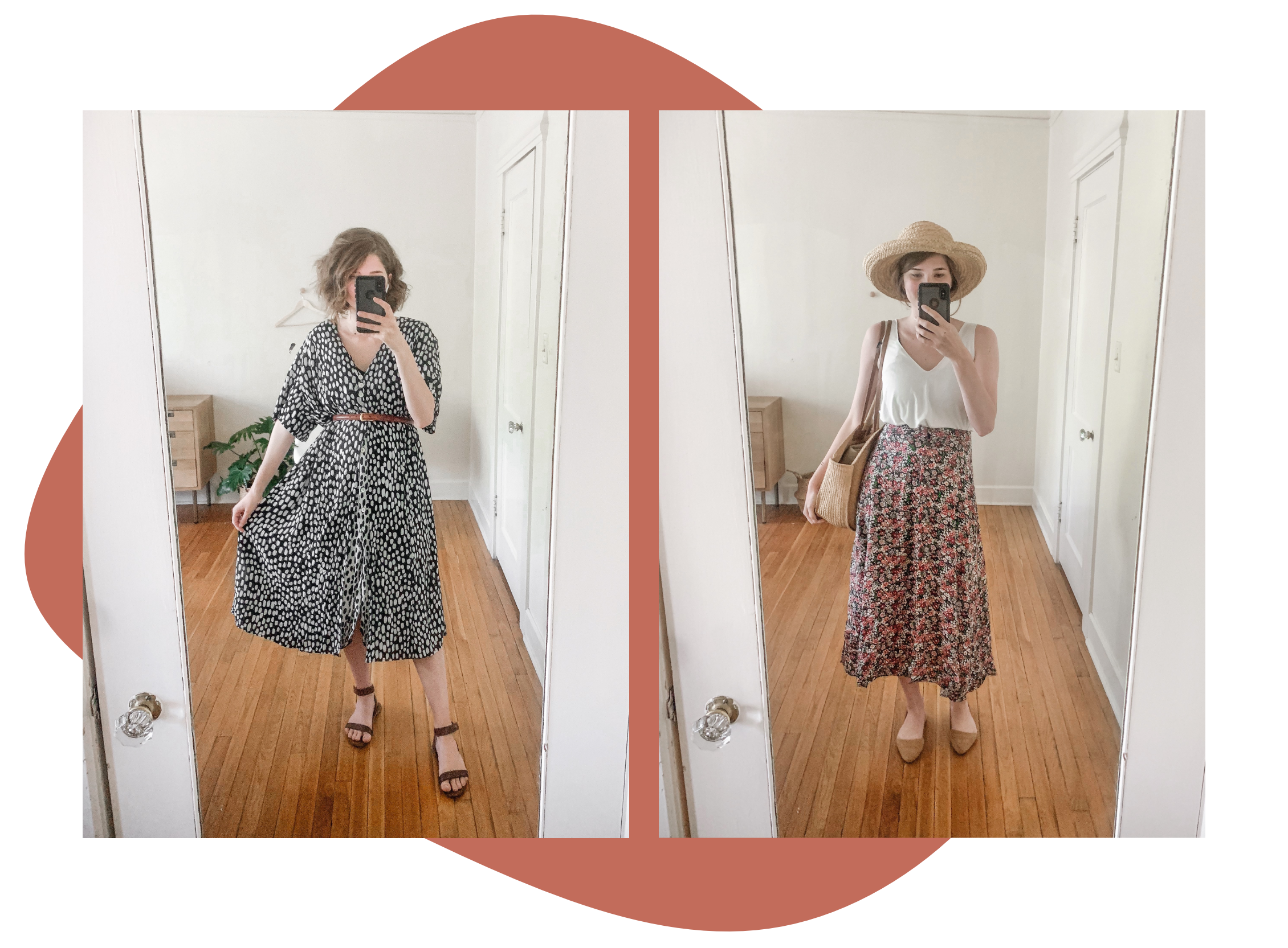 Recently found this dress and floral skirt at Goodwill. Hat was also a thrift find!