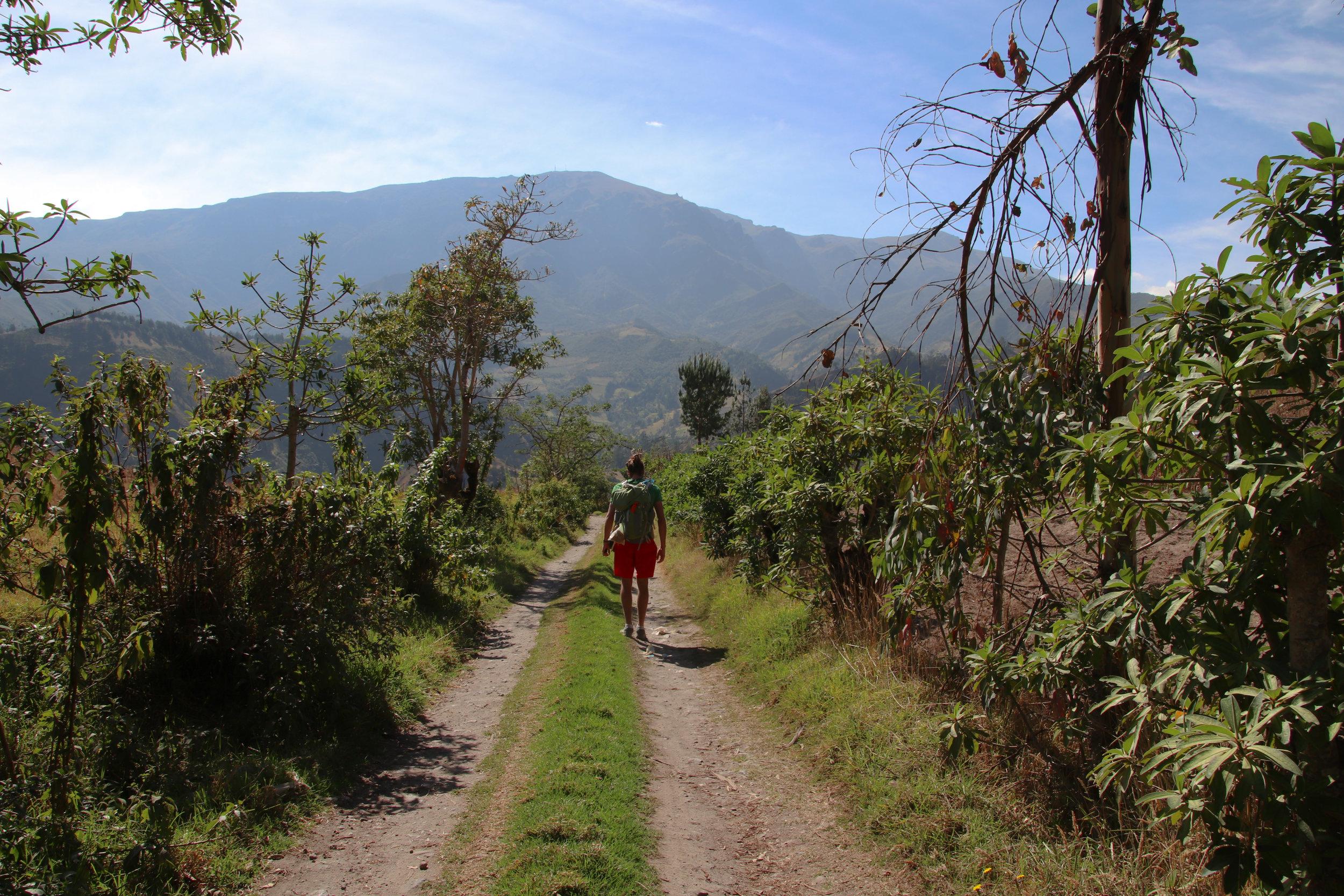 Quilotoa Loop, Male Hiking, Ecuador, South America