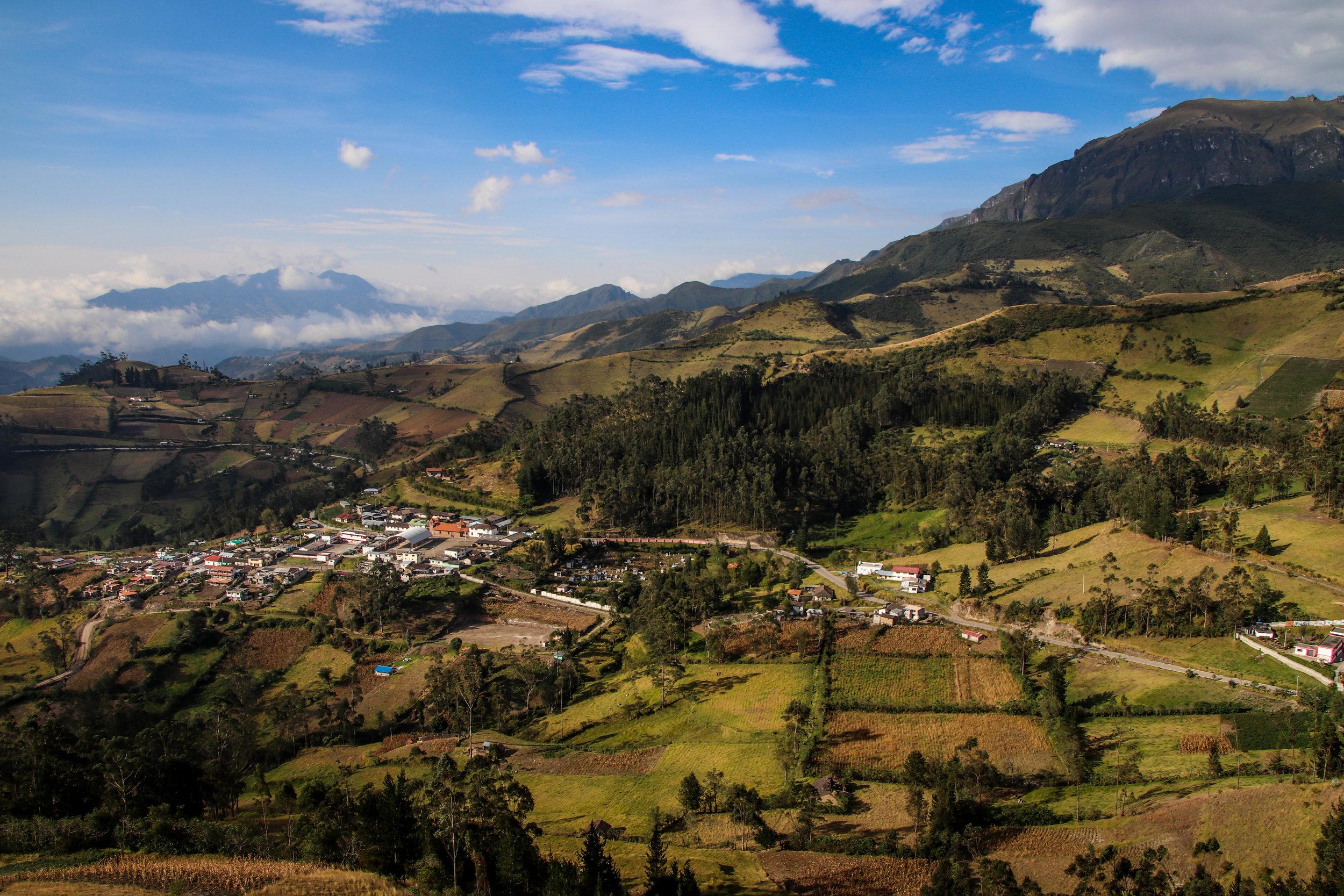 City below Traveling Quilotoa Loop, Ecuador, South America