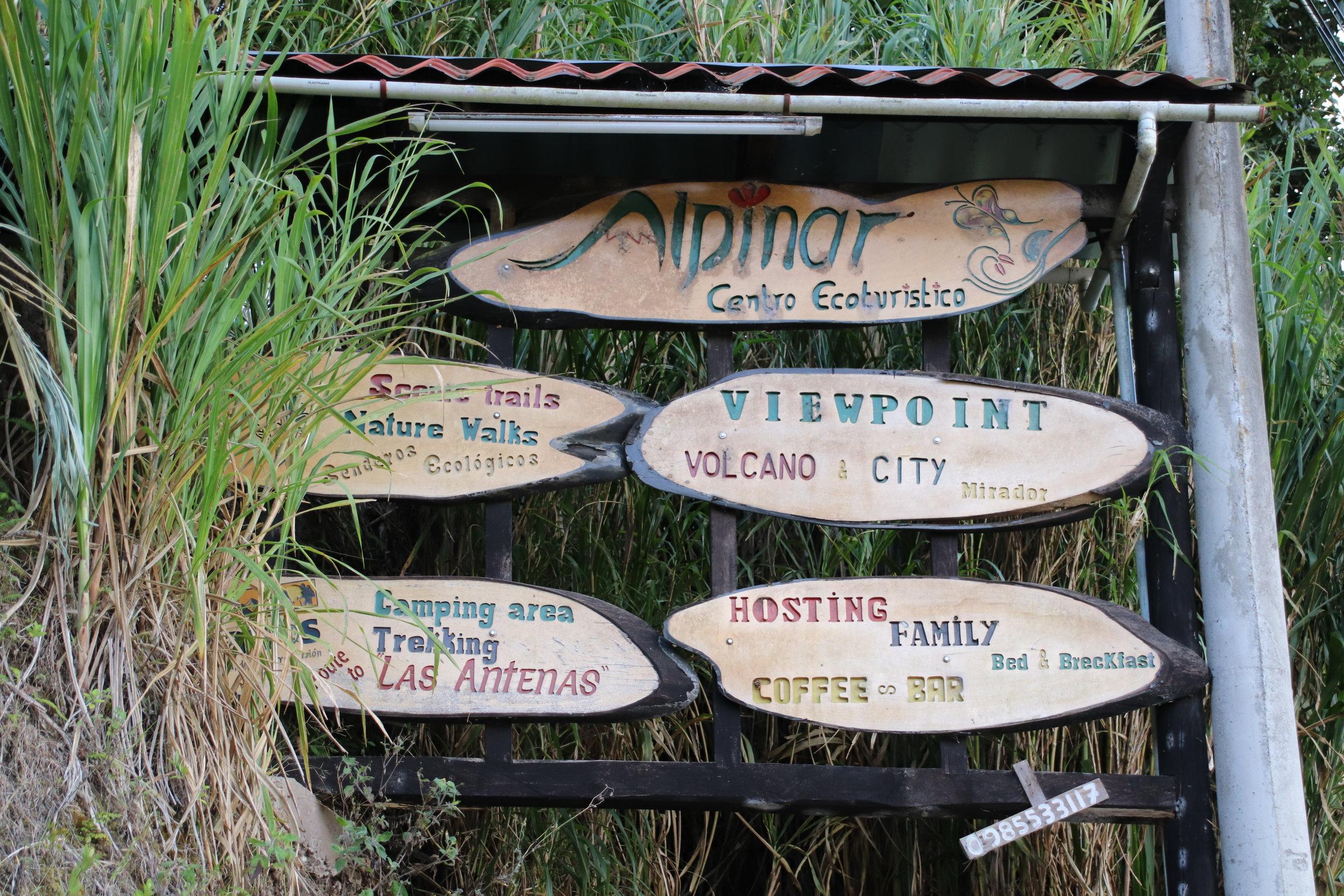 Banos sign hike Ecuador South America