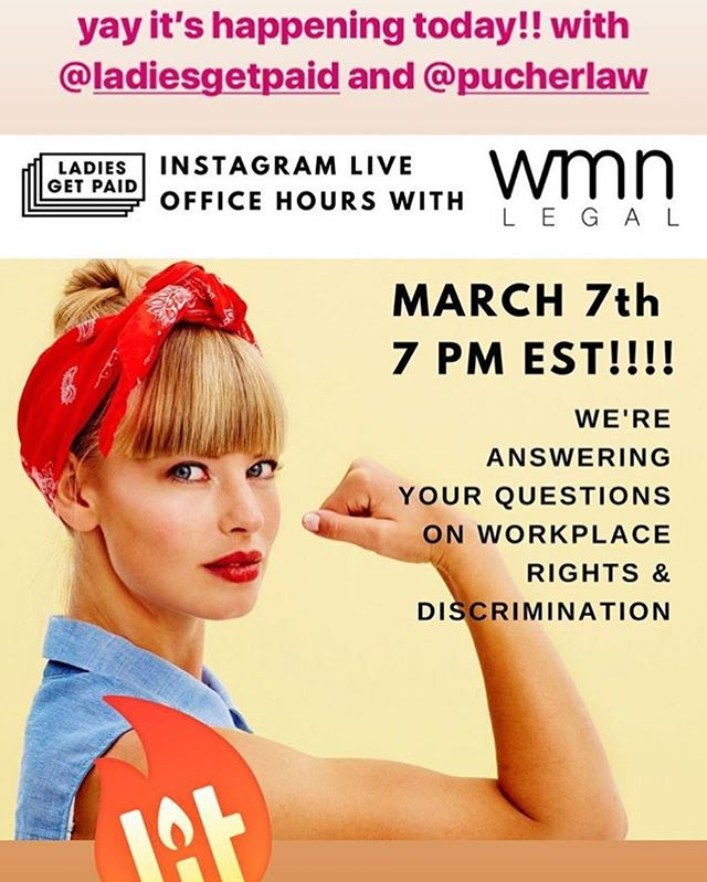 Looking forward to talking about workplace rights with @wmnlegal and @ladiesgetpaid 💪🏼