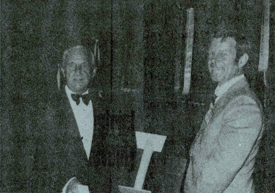 Peter Anicich is shown here receiving the Bank of New South Wales Trophy for his speech commenting on our penal system.