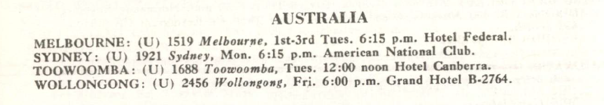 Australian clubs listed with Toastmasters - January 1959