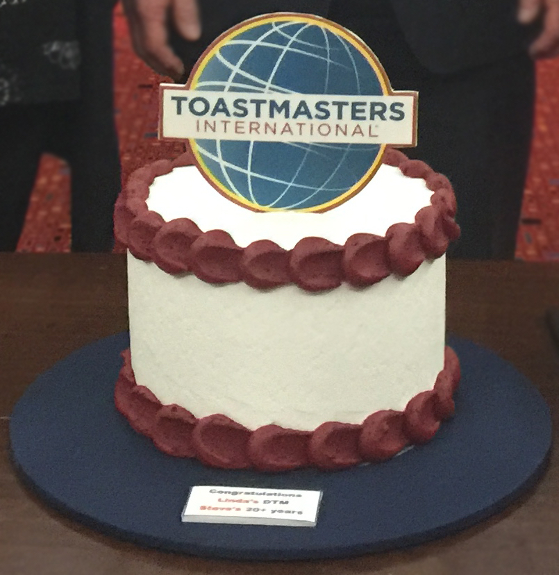 Rockdale Communicators celebratory cake for Linda Said's DTM, & Steve O'Connor's 20th years in Toastmasters - August 2017