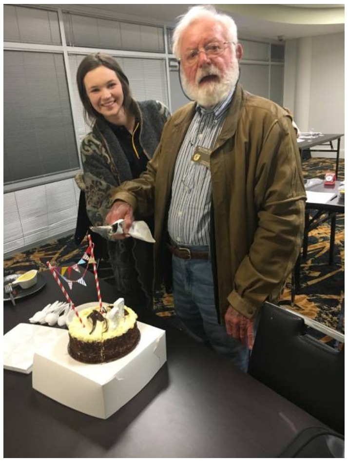 Mikayla Kerr and Wolfgang Suehrer celebrate Nowra Toastmasters' 37th birthday