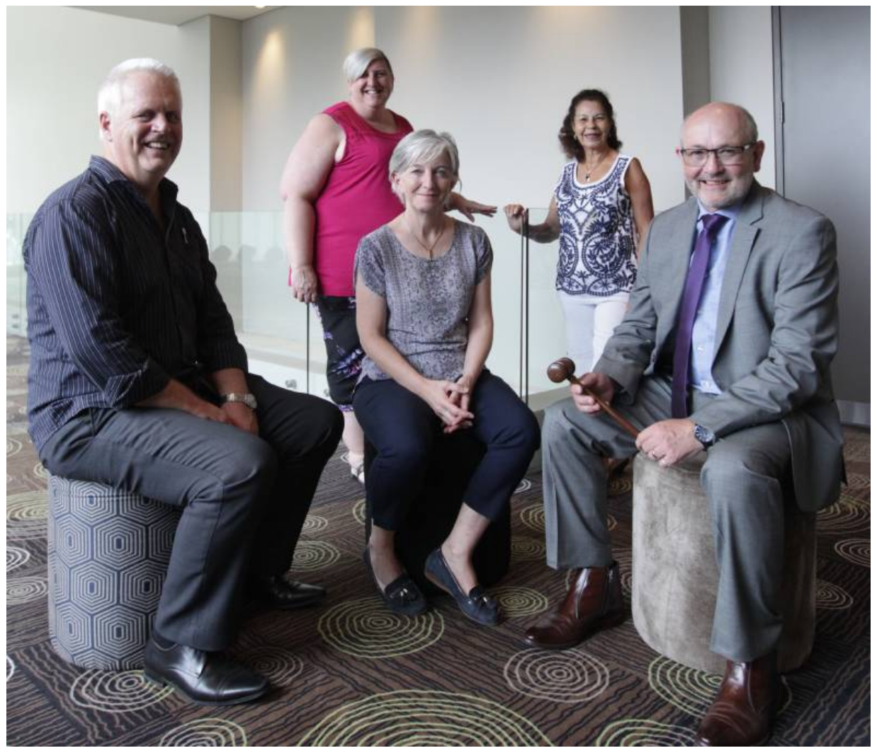 SIGNIFICANT MILESTONE: Campbelltown Toastmasters members Wayne Hooper, Christine Best, Zoe Norris, Danielle Halliwell and Bob Norris are prepared to celebrate the club's 1000th meeting.