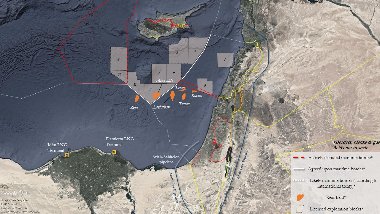 Maritime borders and main gas infrastructures in the Eastern Mediterranean