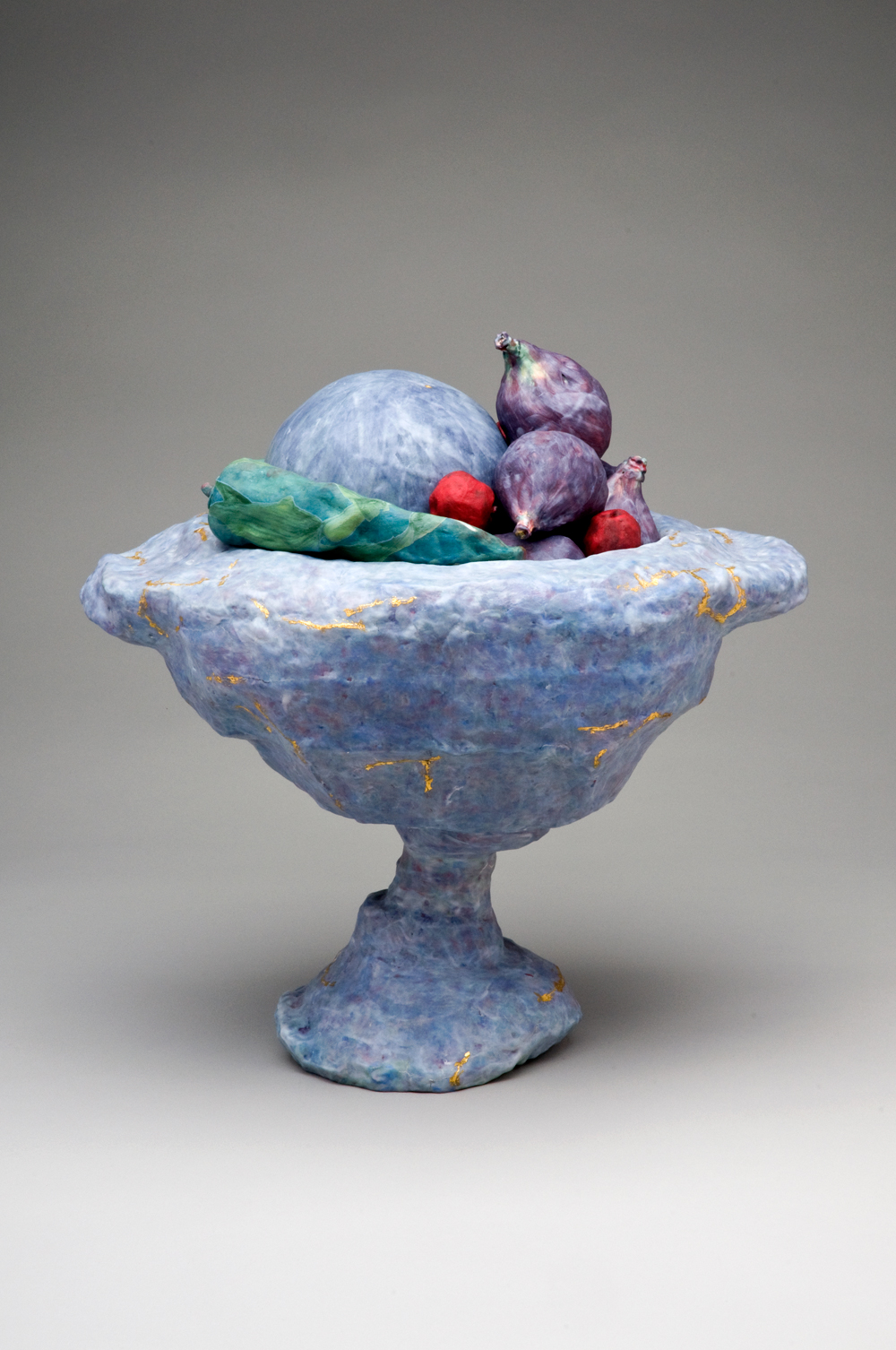 Blue Compotier with Fruits and a Lump