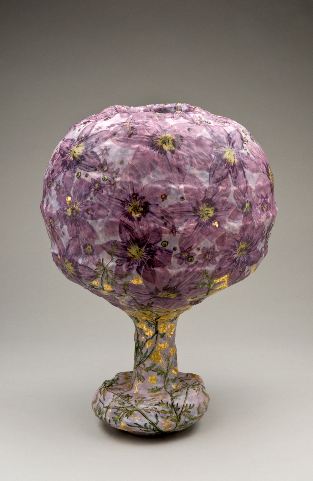 Large Vase Sculpture with Purple Clematis
