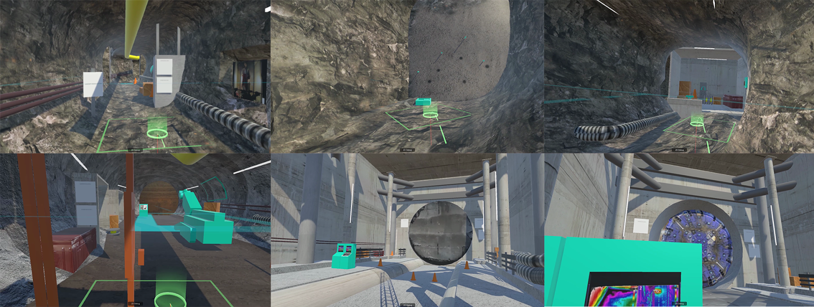 Screenshots of the prototype. The idea was to make a compelling experience about the various methods of excavation.