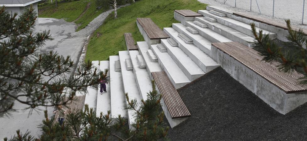Åfarnes Skole - trappeamfi oversiktsbilde