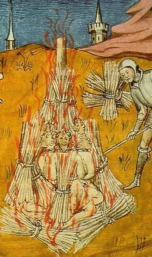 Burning Cathar Heretics at Montsegùr