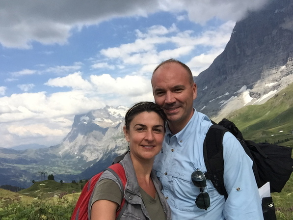 After hiking the Eiger North Face for several hours... One of the most incredible mountain views and refreshing experiences we've ever had.