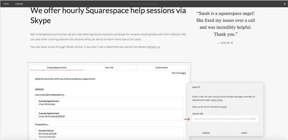 acuity integration squarespace