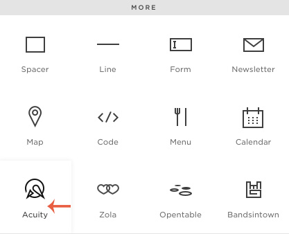 how to embed acuity with squarespace