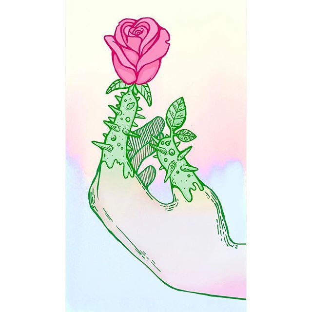 Happy Spring 🤲 🌼 #sunflower #rose #forgetmenot #illustration