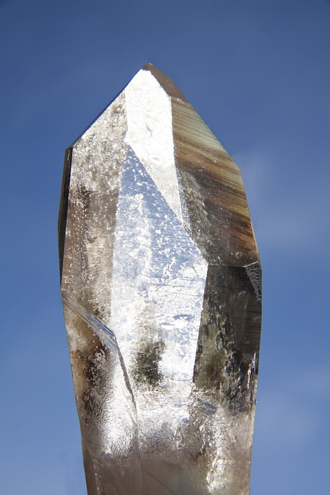 The natural 6-sided cut of a crystal,