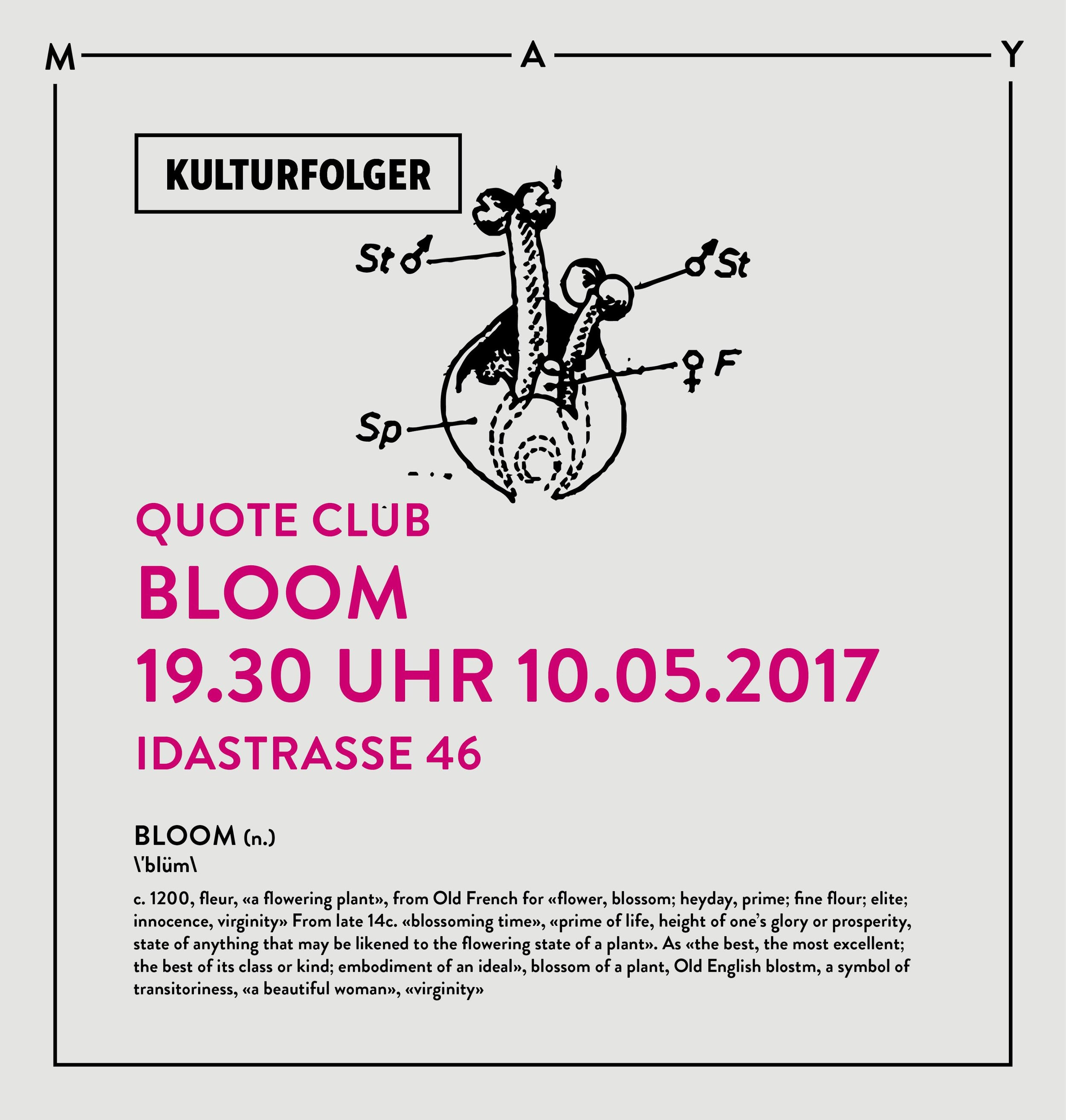 Join us for the forth session of  Quote Club  where we will delve into different readings of  BLOOM . We will read excerpts from texts by Gregory Bateson, Georges Bataille, Roland Barthes,   Clarice Lispector and others. Excerpts from selected texts will be provided in the space.   The session will start at 19.30 Uhr.