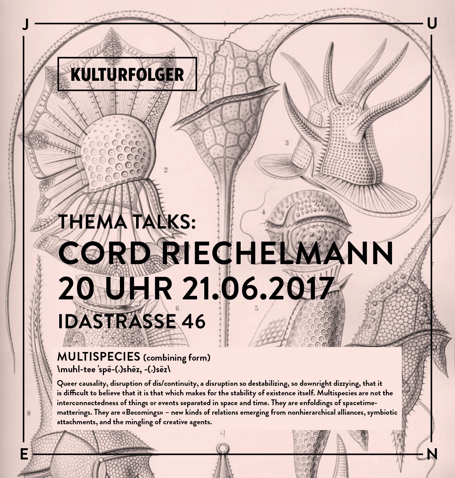 "Join us for the sixth session of Thema Talks with Cord Riechelmann.     Cord Riechelmann, born in Celle in 1960, studied biology and philosophy at the Freie Universität Berlin. He was lecturer for the social behavior of primates and the history of biological research. He also worked as a columnist and Stadtnaturreporter for ""Berliner Seiten"" of the Frankfurter Allgemeine Zeitung. His main interest is the living conditions of nature in the culture of urban living spaces."