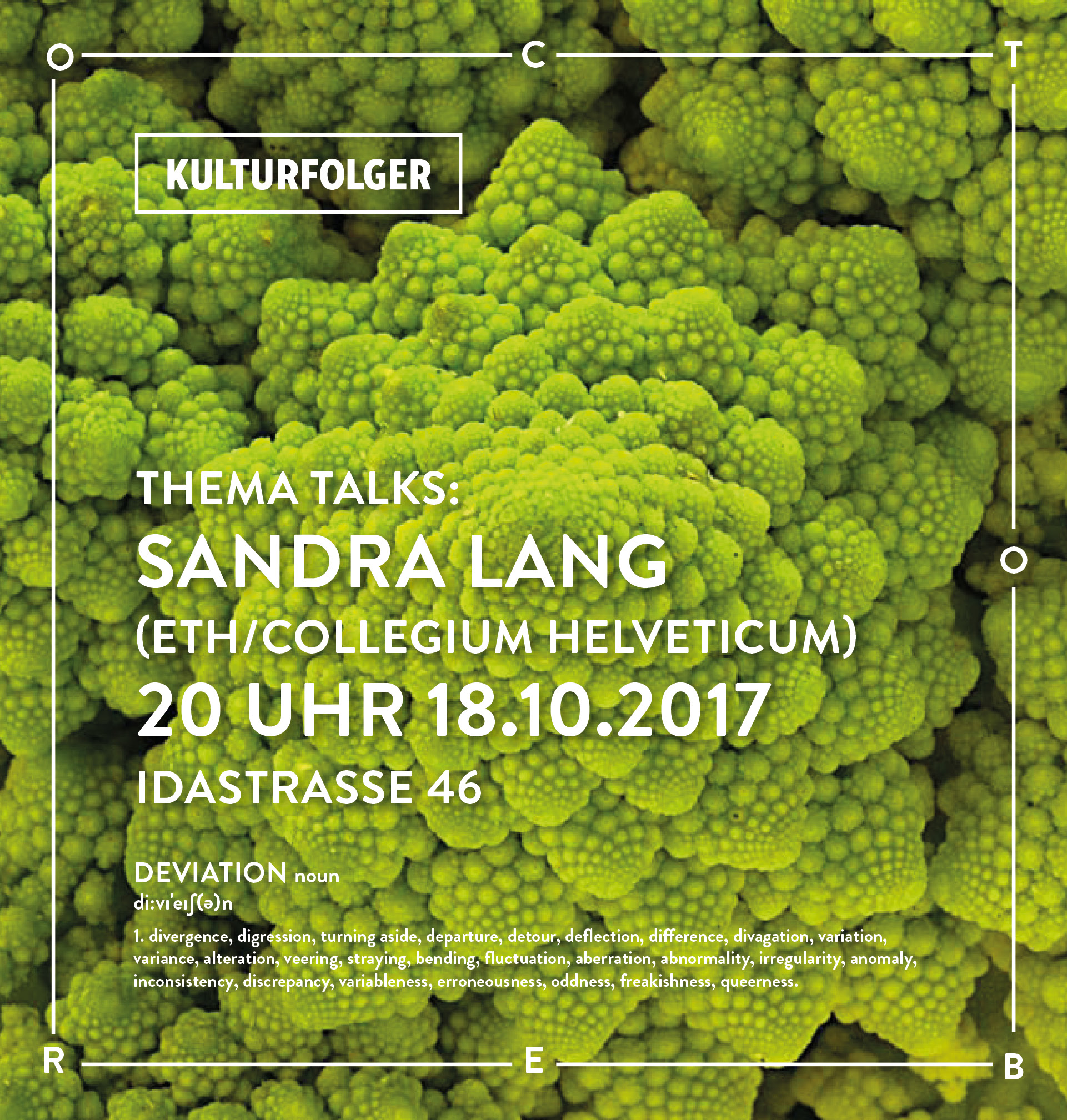 "Join us for Kulturfolger's ninth session of Thema Talks with Sandra Lang.       ABOUT:    Chirality a scientific narrative:  This talk will explore the topic of medical knowledge which is in the orchestra of sciences. Medical science is inferior and dedicated to the the ill, the sick, the degenerate, and the pathetic. Medicine is deviant and is it not the norm. The unspoken and implicit hierarchy infects the discipline and reflects the fossilized pre-ideas remaining from the paradigm of the unity of science.       BIO:    Sandra Lang, is a currently attaining her Ph.D. at the Ludwik Fleck Center of the Collegium Helveticum. She is working on a scientific sociological sub project on chirality as a molecular property and related implications for the transfer of knowledge in biomedicine. Between October 2013 and March 2014, she worked as an intern at the Ludwik Fleck Center and assisted Martina Schlünder within the framework of the project ""The Serological Works of Ludwik Fleck (1896-196) and her relevance for today's biomedical practice and for the history and theory of biomedicine ». Within the framework of this project, her master thesis was also developed under the theme ""gain in translational medicine through the theory and practice of Ludwik Fleck"". She accrued her master's degree in sociology at the University of Freiburg she focused on the fields of knowledge and science sociology as well as gender studies."