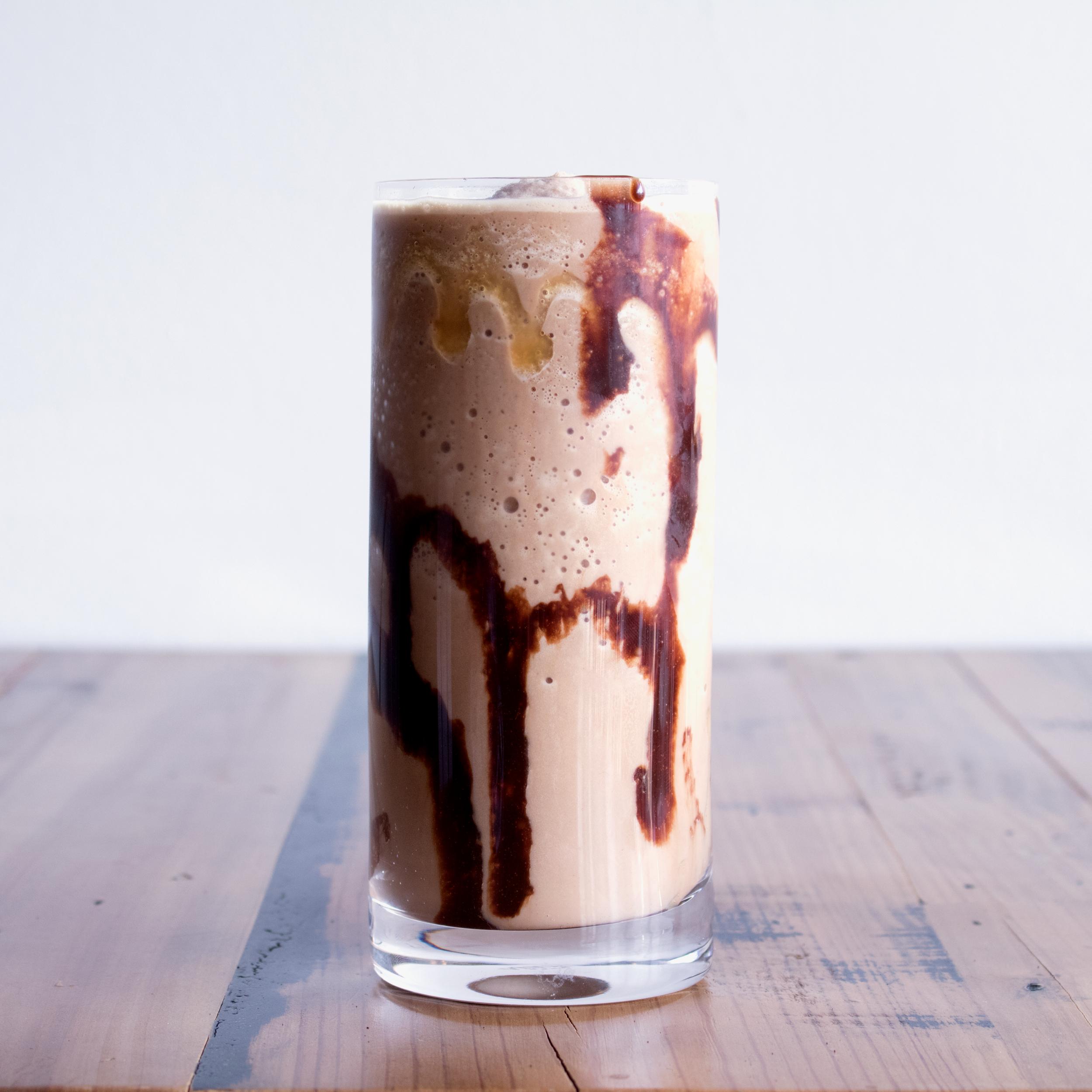 Caramel Mocha Frappé - Espresso + Chocolate + Caramel + Milk