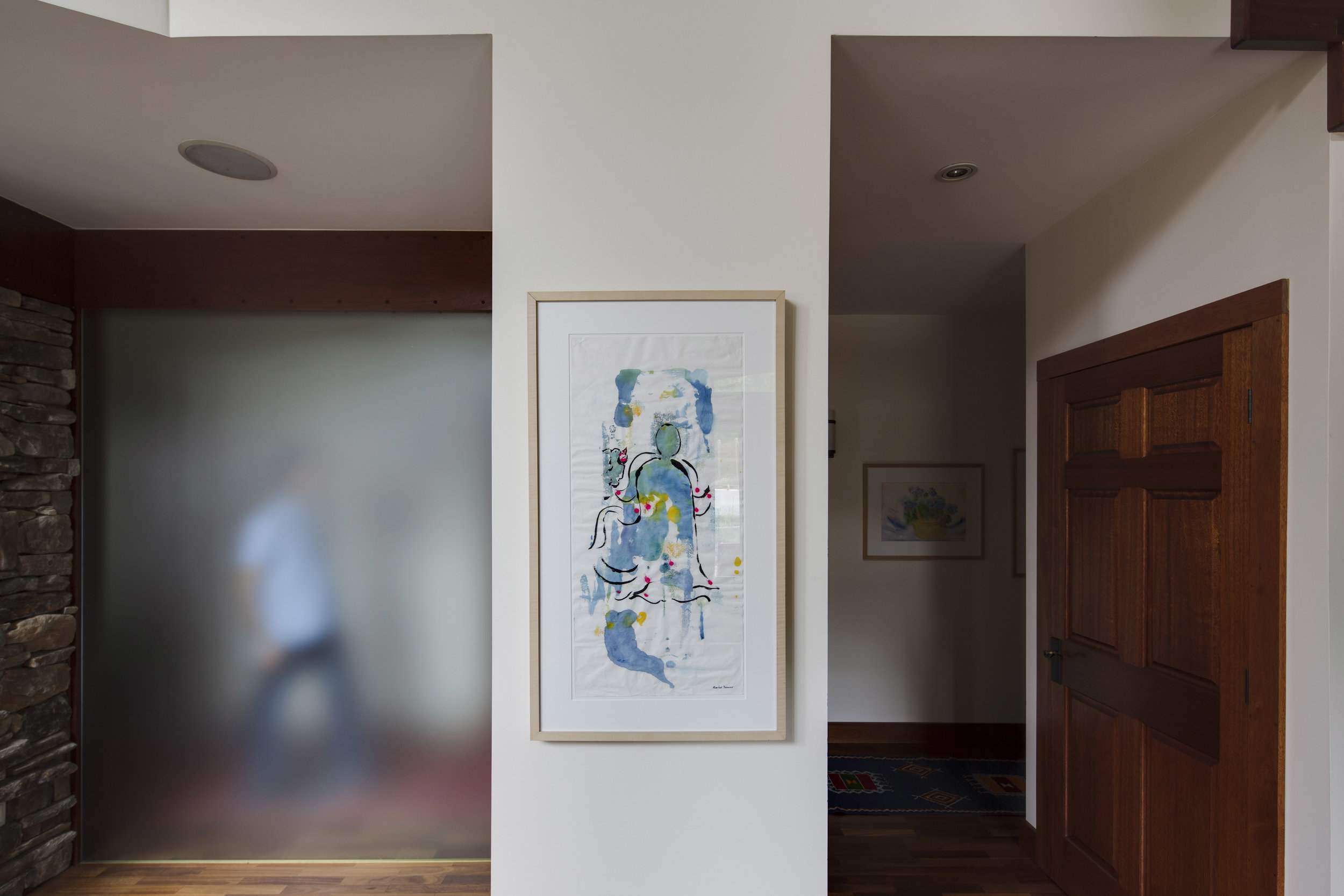 First Floor Hallway - Rosalind Brenner's  Abstract , Watercolor and Sumi Ink on Japanese Paper