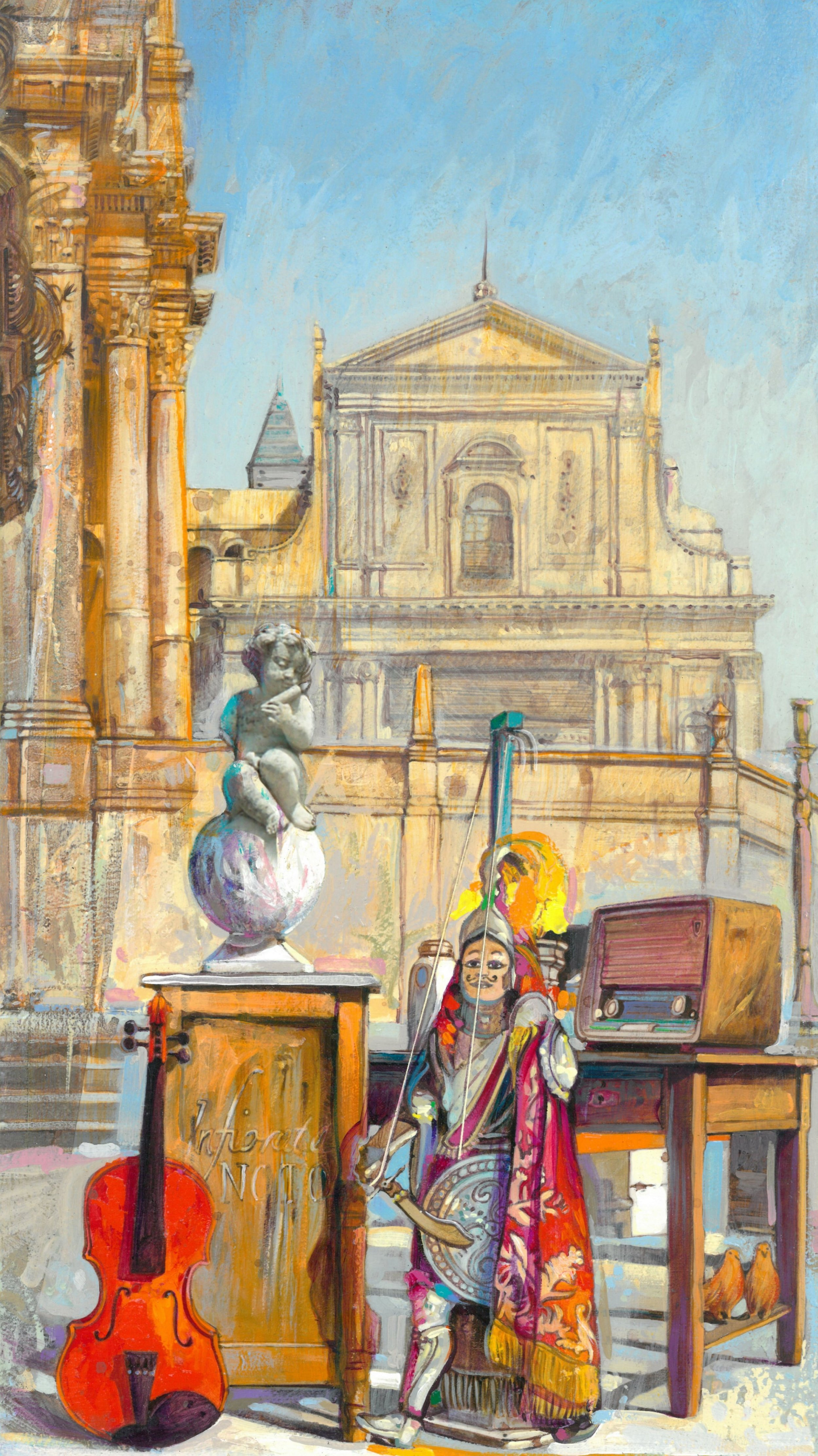 Noto, via Nicolaci   Acrilico su tavola - 25x50 cm