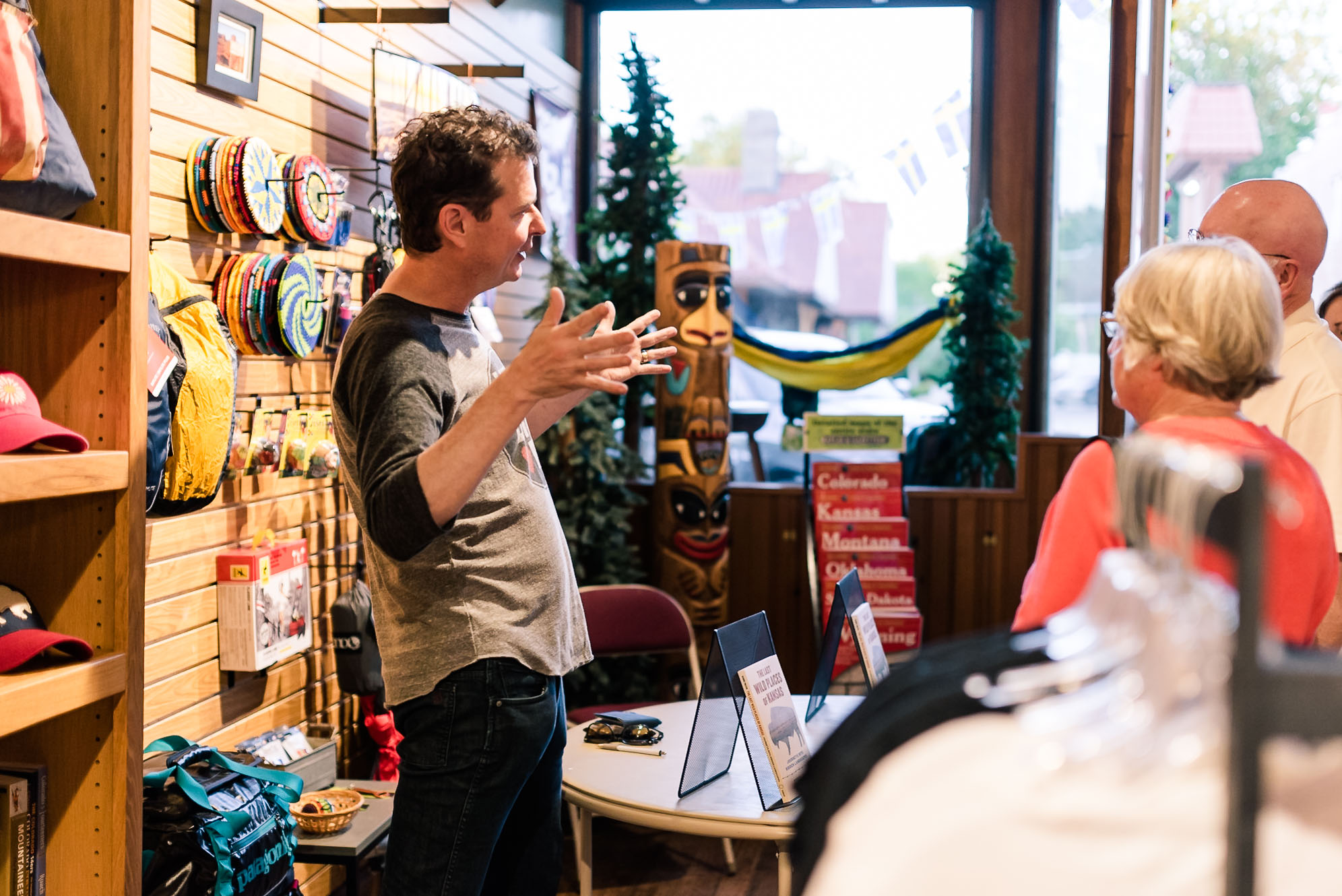 During a Makers Street event, author  George Frazier  shares at Rendezvous Adventure Outfitters about his book   The Last Wild Places of Kansas .