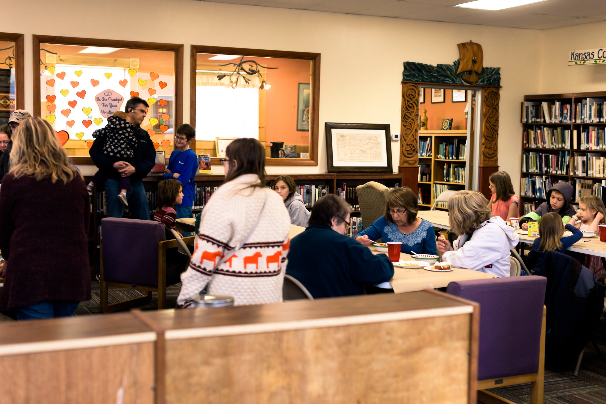 About 60 people gathered at the library to enjoy fellowship and conversation.
