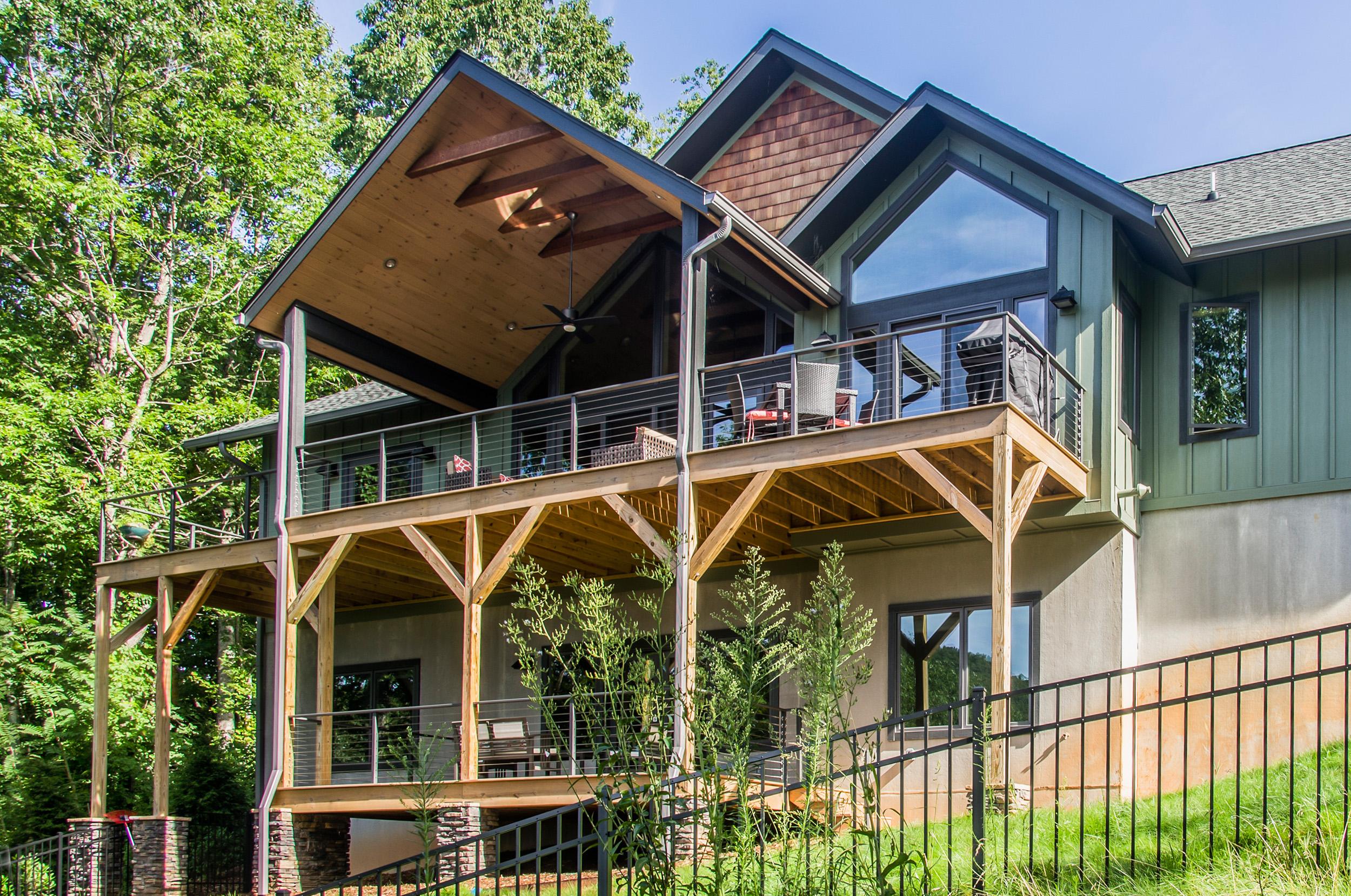 Back deck of Contemporary Home