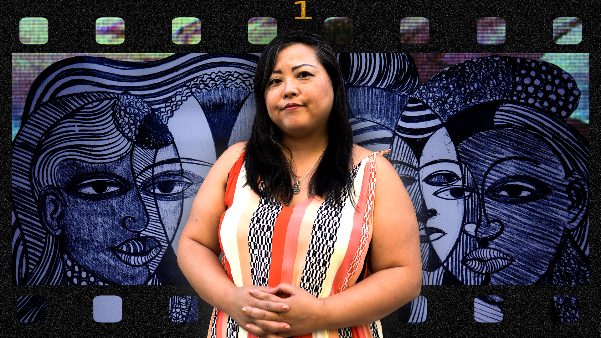 """Portrait collage. Sarah-Ji looks directly at the camera with a slight smile on her face. She is wearing a white, salmon, orange, and patterned colored dress with her hands interlocked in front of her. In the background is a television glitch graphic with the painting titled """"Faces (Faces a la Picasso)"""" created by the artist, scholar and activist Margaret T. Burroughs. The image is framed by a 35mm film strip. Photo and collage were created by Ireashia Bennett. All other images were sourced online."""