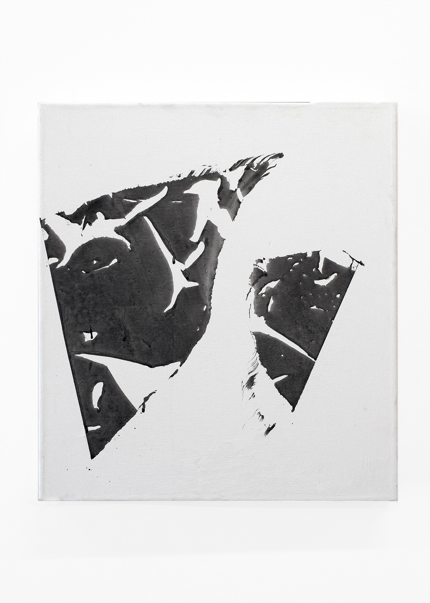 Fragments 2018  Ink + Gesso on Canvas 20 x 18 in.