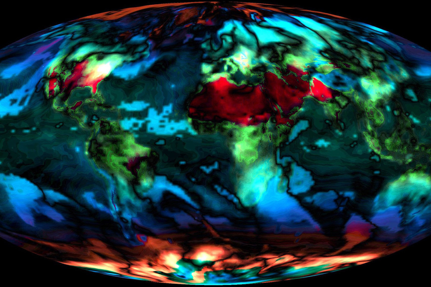 A NASA visualization of expected global temperature changes from 2014 to 2099. Photo courtesy NASA