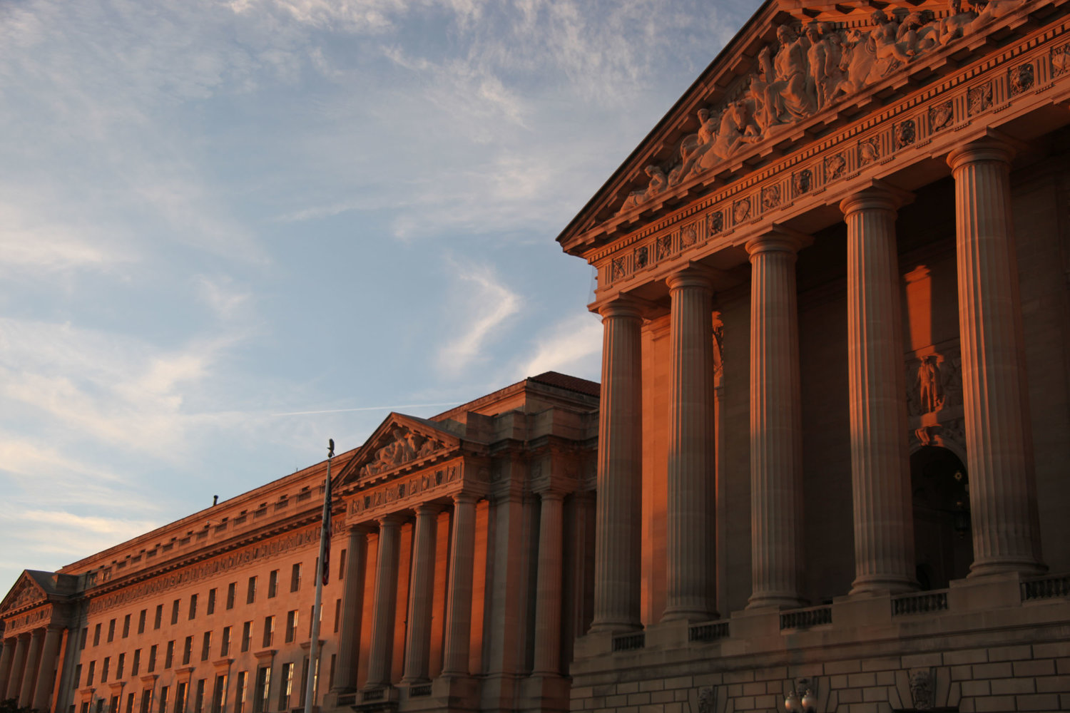 The North Building of EPA Headquarters (left) and Mellon Auditorium (right) at sunset in Washington, D.C. Photo: Tim Evanson / flickr